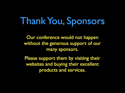 Thank You, Sponsors!